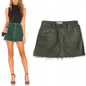 Free People Front Zip It Up Frayed Denim Skirt 27